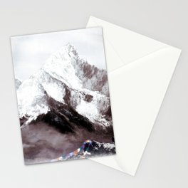 Panoramic View Of Everest Mountain Painting Stationery Cards