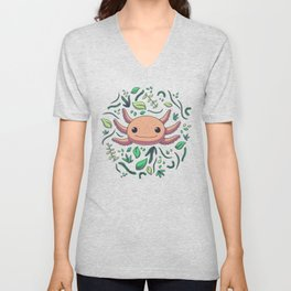 Axolotl with Plants // Kawaii, Wild Animal Unisex V-Neck
