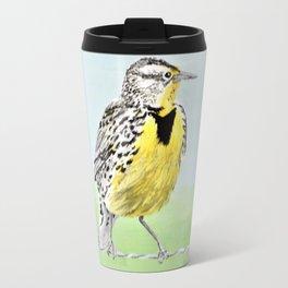 Wyoming Meadowlark Bird Art Travel Mug