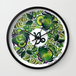 Capricorn in Petrykivka Style (with signature) Wall Clock