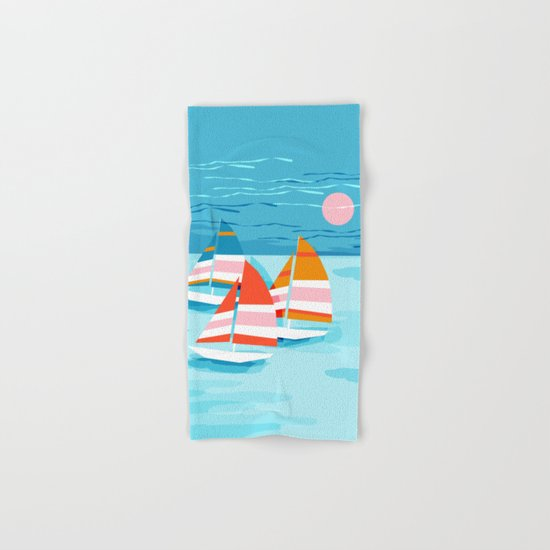 Popin - memphis sports retro throwback neon sailing sailboat cool rad gnarly trendy watersports Hand & Bath Towel