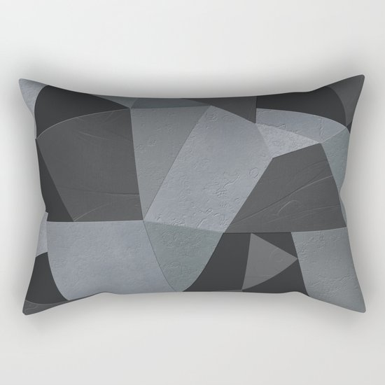 Black and grey worn . Leather patches . Rectangular Pillow
