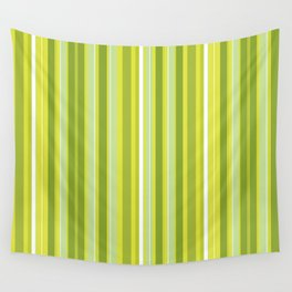 Stripes (Parallel Lines) - White Green Wall Tapestry