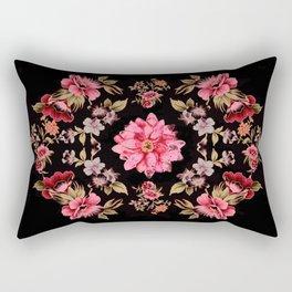 pink folk floral on black background Rectangular Pillow