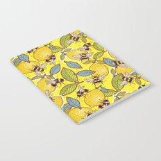 Yellow lemon and bee garden. Notebook