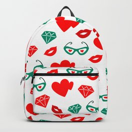 Valentine's Day Red Hearts & Kisses Pattern Backpack