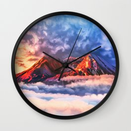 Flaming mountain top Wall Clock