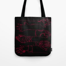 Classic Horror Hands (Red Line on Black) Tote Bag