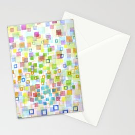 Raining Squares and Frames Stationery Cards