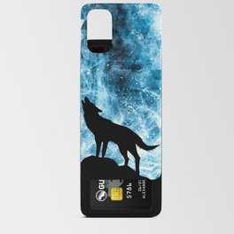 Howling Winter Wolf snowy blue smoke Android Card Case