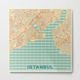 Istanbul Map Retro Metal Print