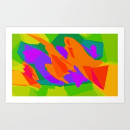 colorful abstract background in purple orange green and blue Art Print