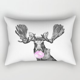 Bubble Gum Moose in Black and White Rectangular Pillow