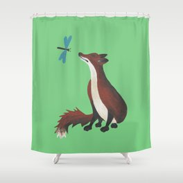 Fox and Dragonfly Shower Curtain