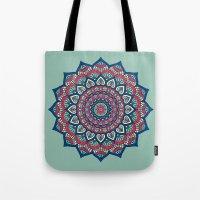 islam Tote Bags featuring Mandala Blue by Mantra Mandala