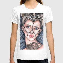 Viking Warrior Princess Fantasy Art Skull Crown Laurie Leigh T-shirt
