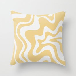 Liquid Swirl Retro Abstract Pattern in Light Yellow and Palest Off-White-Gray Throw Pillow