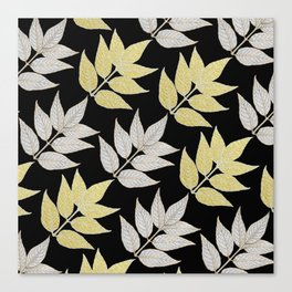 Silver & Gold Leaves On Black Canvas Print