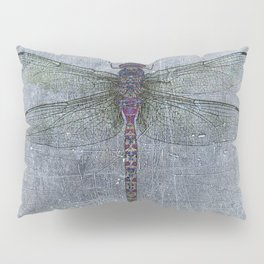 Dragonfly on blue stone and metal background Pillow Sham