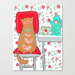 Happy Cat Vintage Kitchen (2 of 2) Canvas Print