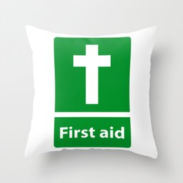 First Aid Cross - Christian Sign Illustration Throw Pillow