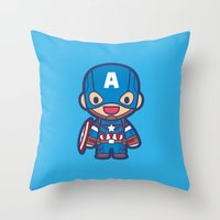 captain Throw Pillows featuring Captain by Papyroo