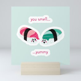 Yummy Sushi - Mint & Pink Mini Art Print