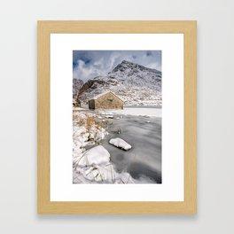 Frozen Lake Snowdonia Framed Art Print