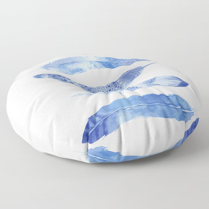 Feathers Indigo Floor Pillow