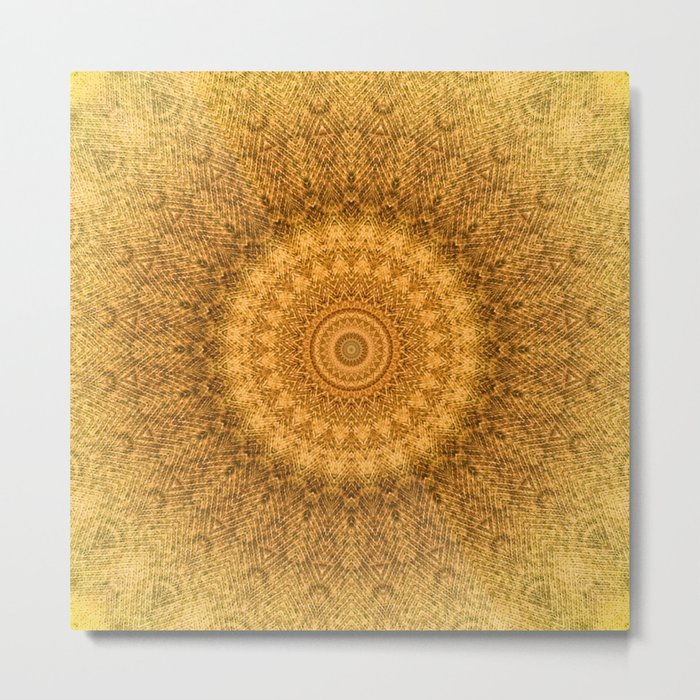 Sunflower Feather Bohemian Sun Ray Pattern \\ Aesthetic Vintage \\ Yellow Orange Color Scheme Metal Print