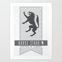 house stark Art Prints featuring House Stark Sigil V2 by P3RF3KT