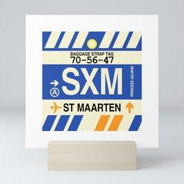 SXM Sint Maarten • Airport Code and Vintage Baggage Tag Design Mini Art Print