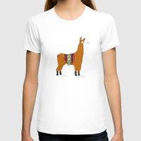 lama T-shirts featuring Peruvian Lama by La Chapardeuse
