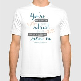 """""""Your Word Renews Me"""" Hand-Lettered Bible Verse T-shirt"""