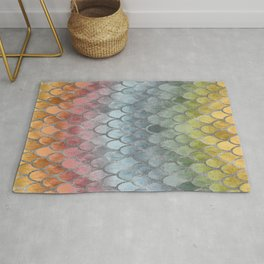 Colorful Fall Mermaid Scales Pattern silver Rug