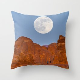 Supermoon Landscape Throw Pillow