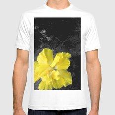 Yellow Silk Mens Fitted Tee MEDIUM White