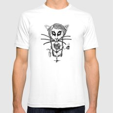 Bayou City Kitty Mens Fitted Tee White SMALL