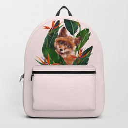 Baby Fox in Bird of Paradise Flowers Backpack