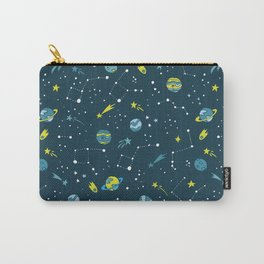Meteor Showers in Blue + Green Carry-All Pouch