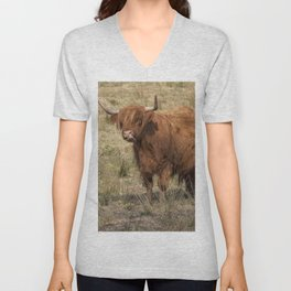 Scottish Highland ginger cow with it's tongue out Unisex V-Neck