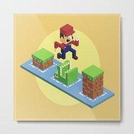 Isometric Mario voxel art Metal Print