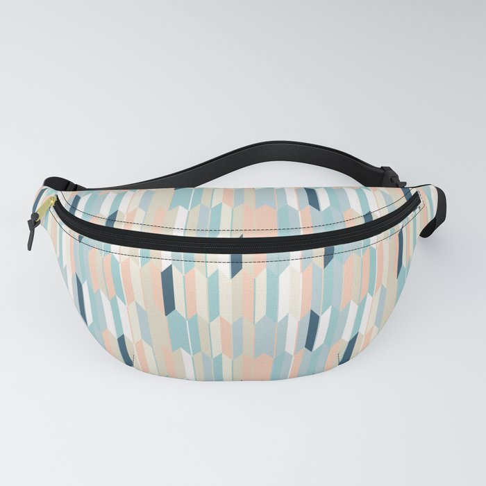 Pastel color geometric pattern Japanese motive Fanny Pack