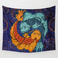 koi fish Wall Tapestries featuring Koi Fish by Spooky Dooky