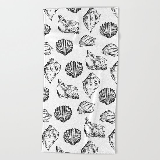 Seashells. Black and white Beach Towel