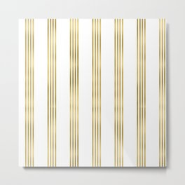 Simply luxury Gold small stripes on clear white - vertical pattern Metal Print