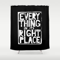 radiohead Shower Curtains featuring Everything in Its Right Place - Radiohead by Bastien13