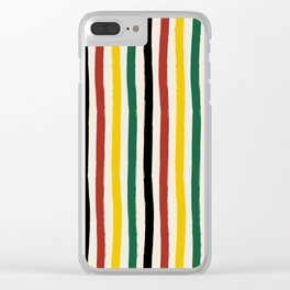 Rustic Lodge Cabana Stripes Black Red Yellow Green Clear iPhone Case