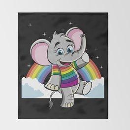 Rainbow Elephant - Cute Elephantidae Throw Blanket