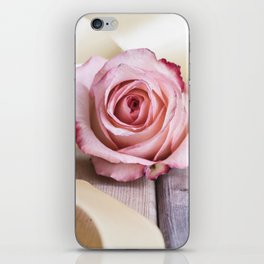 Pink rose and golden ribbon iPhone Skin